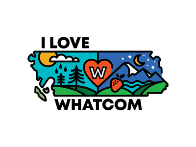 Whatcom County Campaign pandemic mask coronavirus covid-19 thick lines outdoor logo illustration lummi island puget sound evergreen nooksack river great outdoors great pnw pnw cascadia lynden ferndale bellingham washington state whatcom county