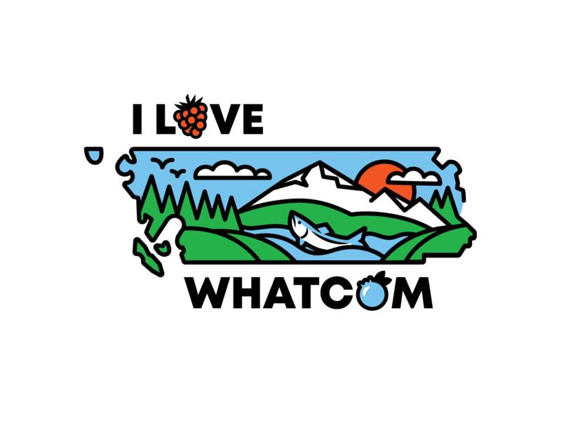 I Love Whatcom fish icon salmon evergreen raspberry icon blueberry icon berries thick line illustration kulshan pnw county logo city logo county pride pacific northwest mt. baker nooksack river washington state whatcom county