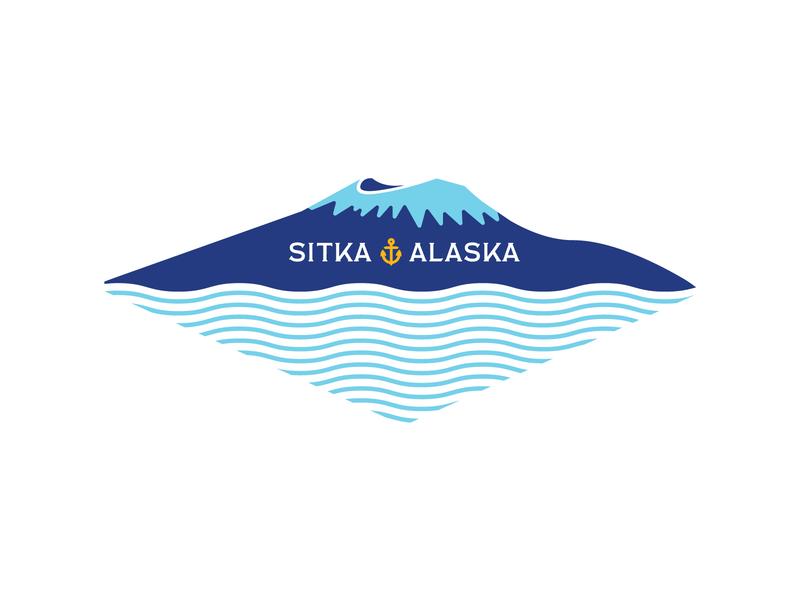 Mount Edgecumbe mountain graphic ocean logo illustration sea halibut salmon seafood rebrand alaska gold mountain top co-op labor union anchor commercial fishing waves sitka alaska volcano