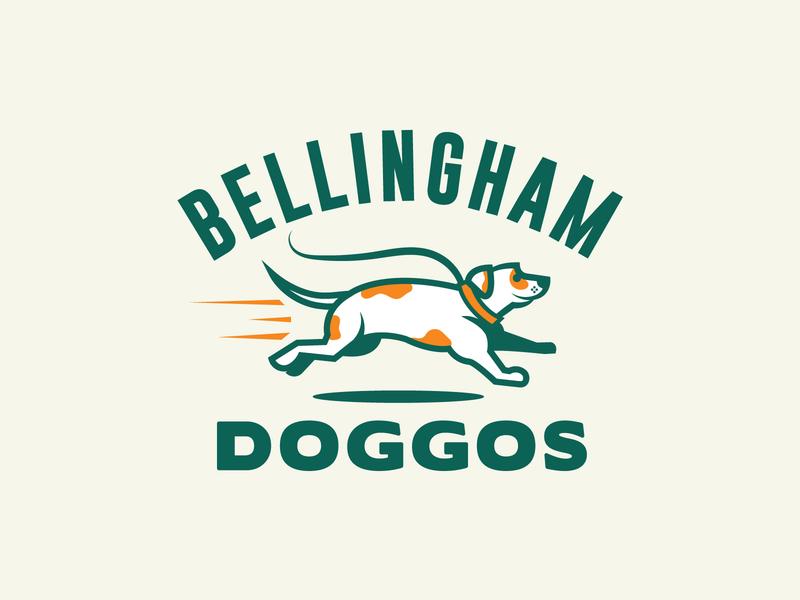 Double-Dog Logo logo design brand dog lovers northwest bellingham leash dog walking dog illustration dog logo running dog