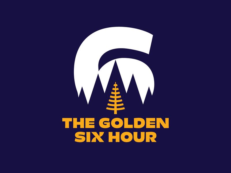 The Golden Six Hour numeral typographic logo logodesign pine needle pine tree ultramarathon marathon pacific northwest pnw trail logo trail running treeline larch dotties vanilla logo golden hour