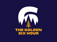 The Golden Six Hour numeral typographic logo logodesign pine needle pine tree ultramarathon marathon pacific northwest pnw trail logo trail running treeline larch dotties vanilla logo golden hour
