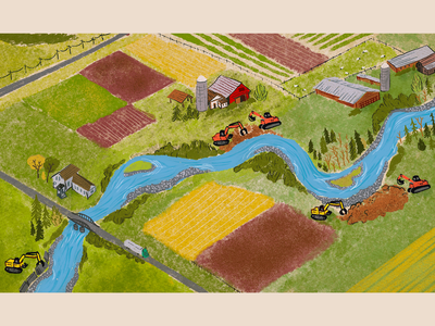 River Farmland crops fields sheep style frame animation texture procreate construction levee river valley river farmland aerial view illustration