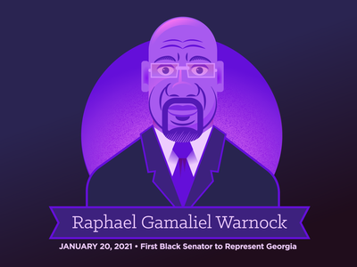 Senator Raphael Warnock georgia warnock geometric gradient america politics senator african american black blue purple portrait vector illustration