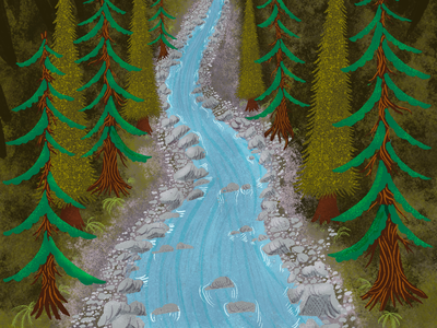 Alpine River styleframe river bed sandbarr animation digital raster pixel textures procreate evergreen mt. rainier mt. baker cascades river nooksack illustration