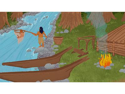 Coast Salish Fisherman procreate salmon canoe campfire river people nooksack native american indian pacific northwest cascadian salish indigenous native american illustration