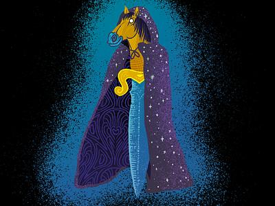 Cloak & Dagger texture grain procreate blade horse head illustration