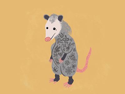 Bad Boy Opossum bad bay criminal mullet prisoner carnie rodent illustrator old school tattoos procreate illustration opossum possum