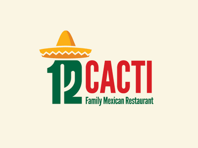 12 Cacti numeral typography negative space desert food truck texmex mexico colors mexico mexican flag twelve 12 league gothic sombrero cactus family restaurant logo brand restaurant logo restaurant mexican