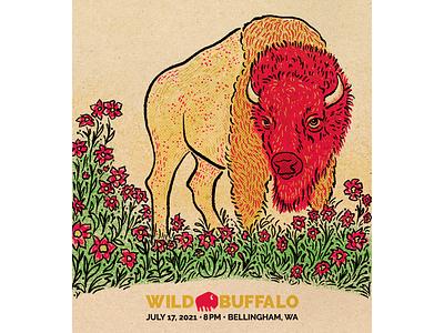 Bison in the Posies flower halftone texture indie rock posies bellingham digital raster procreate gig poster illustration buffalo bison