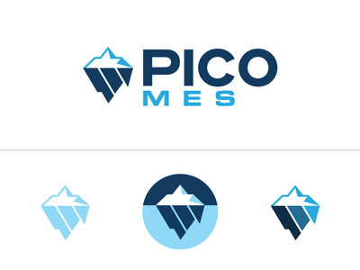 PICO Iceberg Logo sharp cold ice blue geometric clean vector graphic design brand logo start up modern tech arctic glacier iceberg