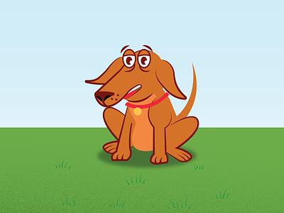 Cartoon Mutt mans best friend funny cute animal doggie adorable sitting brown puppy illustrator mograph vector pet doggo pooch character illustration animation cartoon dog
