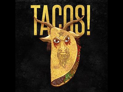 Devil Taco art food delicious evil pentagram photoshop procreate texture the devil beezlebub baphomet horns character design taco illustration satan devil