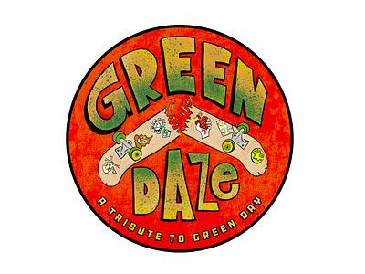 Green Daze skate or die thrasher rock and roll merch design gig poster american idiot dookie splatter grunge typography procreate photoshop texture illustration sticker design skateboard punk rock green day