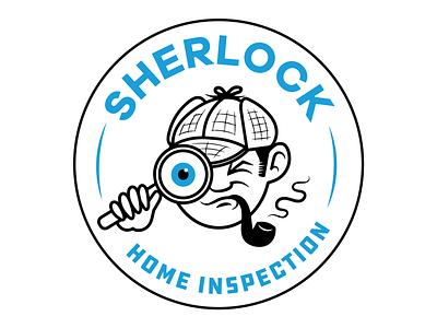 Sherlock Home Inspection home inspection illustration badge logo magnifying glass character sherlock