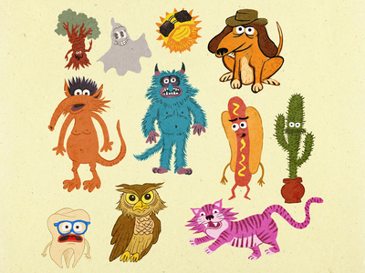 Cast of Freaks toon town cartoon muppets procreate sun dog tooth owl tiger hot dog cactus jim henson monster texture illustration character