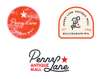 Penny Lane Antique Mall penny lane script logo design graphic design logo red star hand type badge typography rebrand brand treasure 1950s antique art deco mid century modern retro antique mall