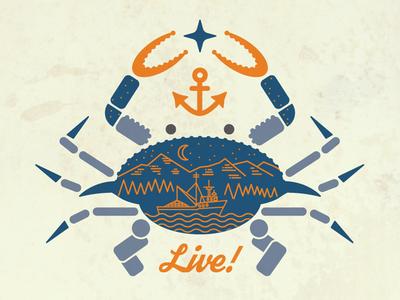 Sitka Crab gigposter geometric claws alaska boat fishing boat trees star anchor illustration crab