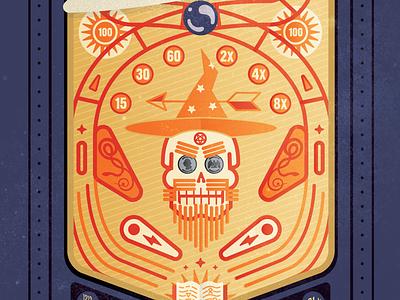 Pinball Wizard quarters arrow spell book book bumper flipper wizard beard skull tournament illustration pinball