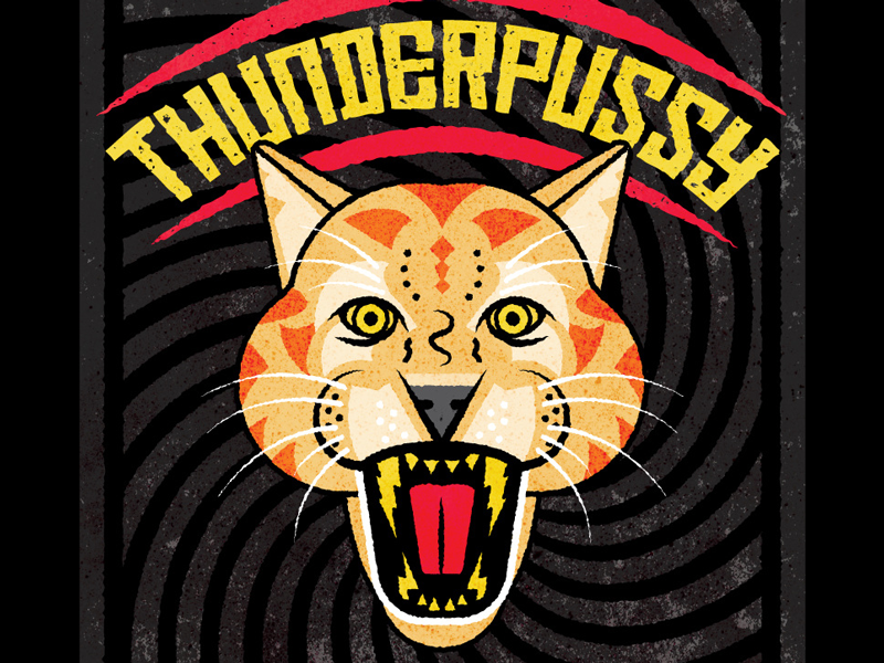 Thunderpussy fangs pnw seattle rock and roll geometric thunder lightening cougar graphic design gig poster illustration