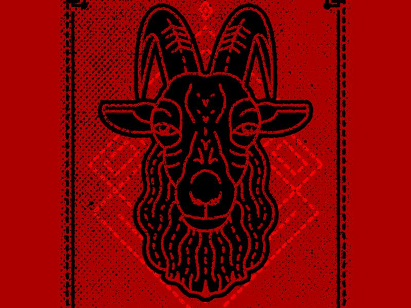 Black Phillip black phillip horns the vvitch the witch the devil goat satan stoner-rock geometric graphic design gig poster illustration