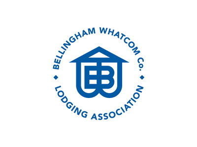 Lodging Association combination mark logo brand whatcom county bellingham pacific northwest hotel lodging roof typography monogram