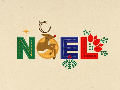 NOEL holy star mistletoe rudolph reindeer typography holiday christmas