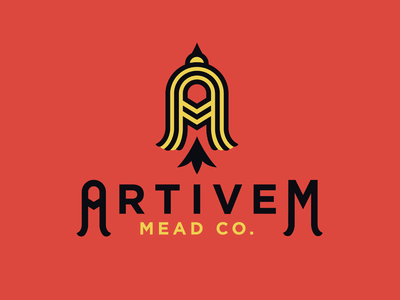 Artivem Mead Co. tailfeather american goldfinch goldfinch bird logo honey wine pacific northwest meadery winery wine mead modern typography letter mark combination mark brand logo design
