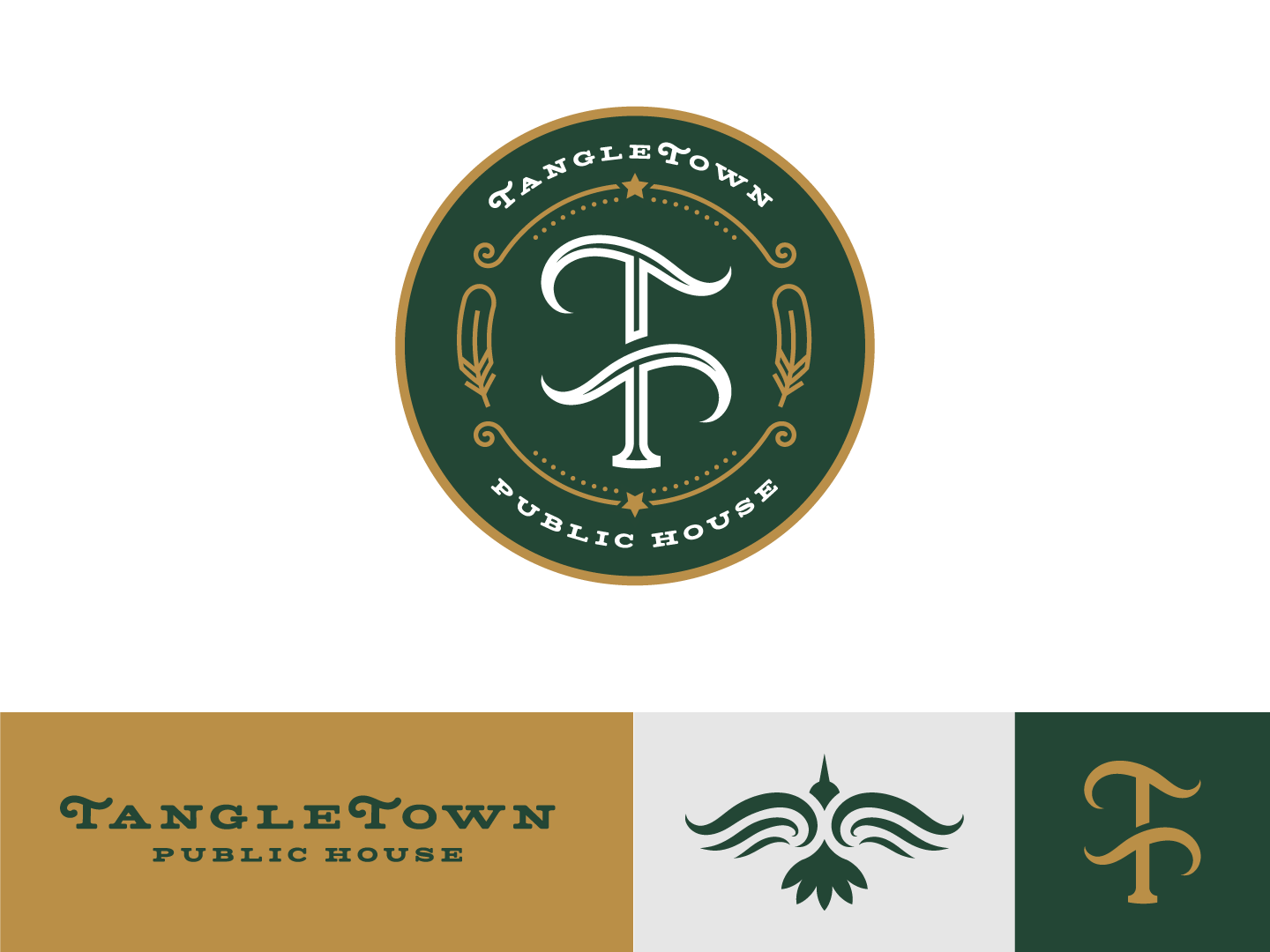 TangleTown Public House pacific northwest craft beer mico brewery brewery public house green and gold feather crow badge seal wordmark lettermark monogram pub seattle tangletown elysian rebrand logo design