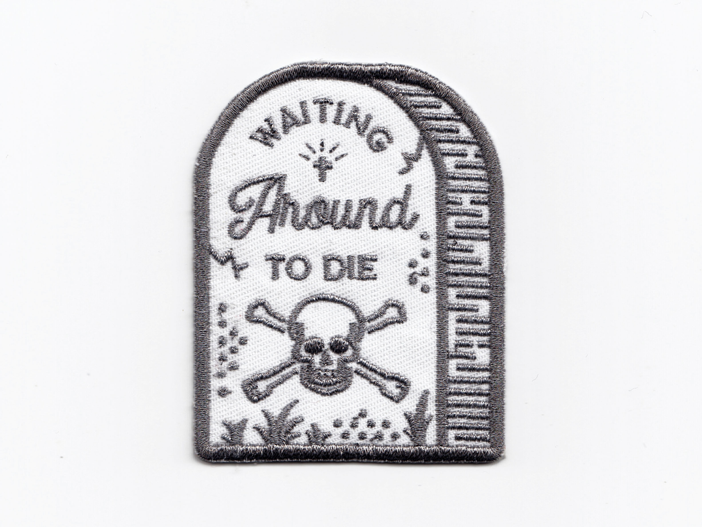 Townes Van Zandt - Waiting Around to Die patch design blaze boley willie nelson punk rock skull and crossbones lyrics embroidered patch illustration typography gravestone outlaw country country music patches townes townes van zandt
