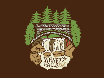 Whatcom Falls adobe illustrator adobe photoshop procreate illustration cobblestone bridge pacific northwest pnw evergreen tree whatcom county bellingham whatcom falls