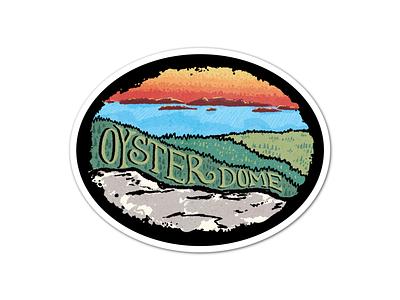 Oyster Dome hiking hikers hiker samish point overlook landmark illustration procreate puget sound san juan islands skagit valley bellingham pacific northwest pnw sticker design overlook hike oyster dome