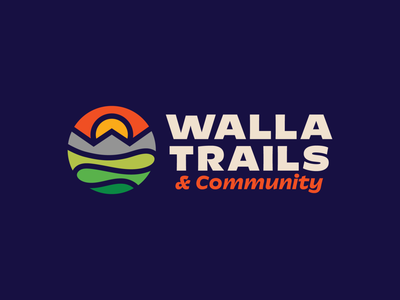 Walla Trails & Community mountain brand north cascades cascade range sunset logo geometric logo trail logo w logo mountain logo sun logo sunrise lost tyle dotties vanilla pacific northwest pnw outdoors trail running