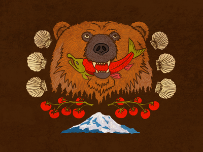 Alaskan Bear Fucker pnw pacific northwest apple pencil procreate clamshell sockeye illustration smoked salmon seafood clams tomatoes cascades mt. rainier alaska grizzly bear