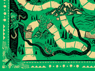 Evergreen Bandana Game maps insect dragonfly sea creatures apple pencil ipad procreate pnw evergreen trees puget sound rainforest pacific ocean salmon pattern bandana octopus mt. st. helens mt. rainier washington state illustration