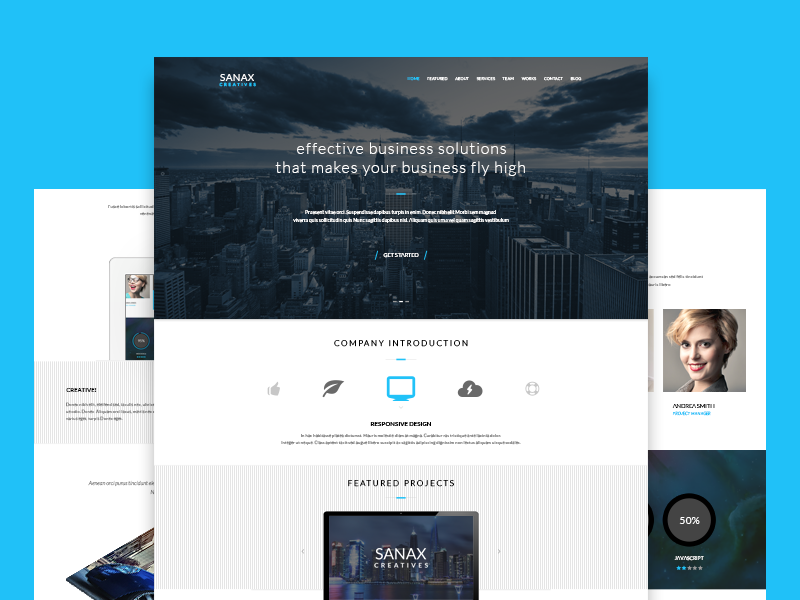 Sanax | Multi-Purpose Parallax PSD Landing Page by enFusionThemes ...