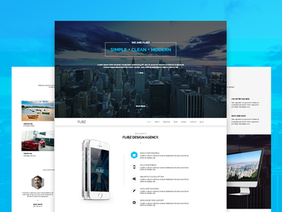 Flibz - One Page Parallax  one page psd template landing page parallax wordpress blog font awesome multi-color website design