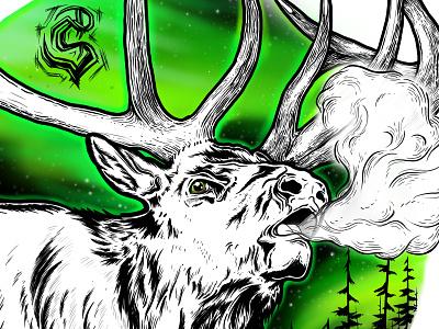 Aurora Elk digital art northern lights elk photshop wacom tablet wacom cintiq branding illustration logo design
