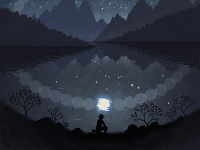 A crown of stars painting digitalart landscape dark artwork art fantasyart fantasy illustration