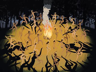 The Festival dance campfire fire digitalart fantasyart landscape concept illustration fantasy artwork art