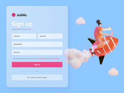 Maratón UI - Sign Up dribbble graphic design dailyui desktop web sign up design ui art adobe 3d