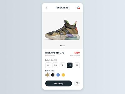 Maratón UI - Single product web design 2d shoes shop e commerce product nike app ui graphic design design dailyui