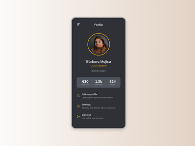 Maratón UI - User profile product ux challenge settings 2d user profile web design app ui graphic design design dailyui