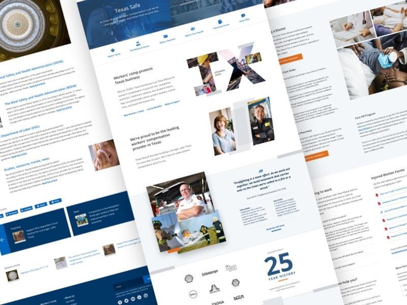 Texas Mutual Redesign insurance marketing site information design ux web design