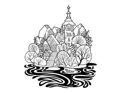 Lake Bled Illustration lake tree castle illustration europe slovenia illustration vector art black and white art nature landscape slovenia illustration