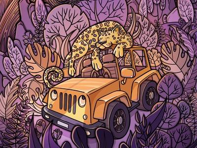 Jeep and Jaguar illustration