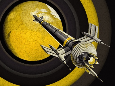 Into the Unknown rocket retro ship yellow planet ring unknown
