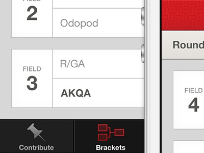 Dodgeball Brackets dodgeball bracket brackets ios simple design agency iphone interface