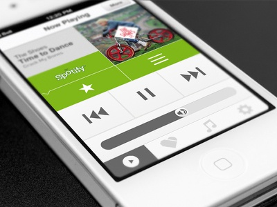 Smart Radio App ios app iphone interface simple music volume scrub button tab bar now playing spotify