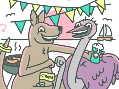 Straya bbq prawn kookaburra sunset beer australia straya emu kangaroo vector illustration